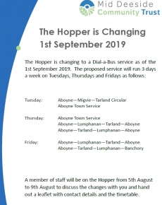 Hopper Change – 1st September 2019
