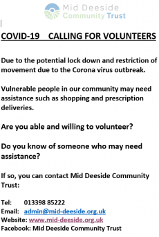 COVID-19 CALLING FOR VOLUNTEERS